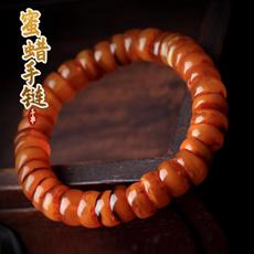 天然琥珀蜜蜡手链★带红皮随行老蜜蜡鼓珠手串★精品收藏价值蜜蜡饰品