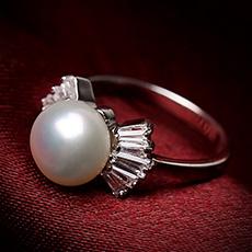 天然晶莹珍珠戒指★女款925银韩国时尚指环★甜美高贵大气