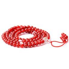 108颗佛珠手链★6mm女士属马本命佛念珠手串★红玛瑙大势至菩萨饰品