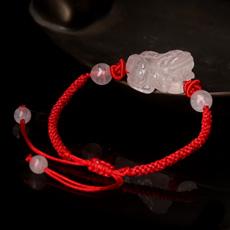 天然粉水晶貔貅手链★红色手编绳皮丘饰品