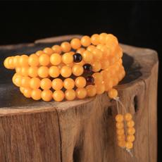 天然琥珀蜜蜡手链★天然鸡黄油琥珀原石手链★精品收藏价值蜜蜡饰品