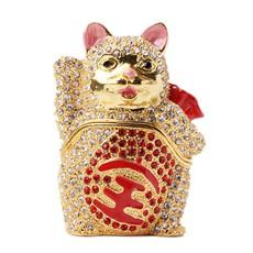 创意小礼品★合金镶水钻招财猫小摆件★精致装饰送女士必备
