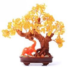 黄水晶树★大象摇钱树家居工艺品摆设