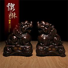 棕色仿木漆雕貔貅摆件★B款纳福旺财对貔貅★树脂皮休家居装饰品工艺品摆设