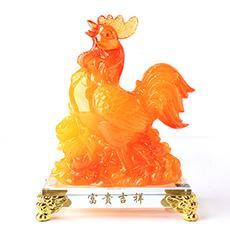 吉祥树脂鸡摆件★仿玉鸡年家居工艺品摆件