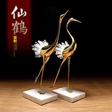 精铜彩铜系列铜配水晶柱对仙鹤精工艺摆件★现代家居时尚开业搬家装饰工艺品
