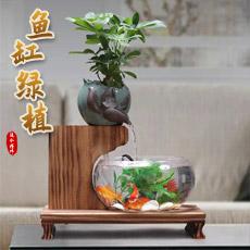 禅意鱼缸流水摆件★创意绿植鱼缸流水喷泉居家办公开业乔迁礼品工艺品