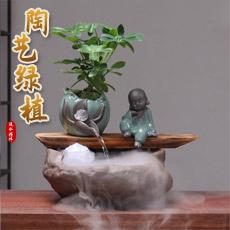 禅意流水摆件★创意绿植陶制鱼缸流水居家办公开业乔迁礼品工艺品