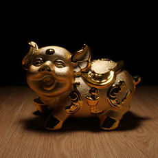 财富猪宝宝存钱罐财猪宝宝存钱罐★时尚陶瓷卡通金猪家居摆设