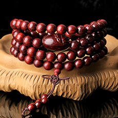 天然小叶紫檀貔貅佛珠手串★8mm紫檀皮休佛珠多圈手链
