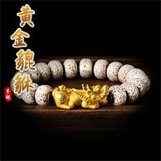 星月菩提黄金貔貅手链★3D硬金黄金足金貔貅配转运隔珠手串