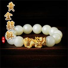 黄金和田玉貔貅手串★3D硬金足金貔貅和田玉佛珠手链