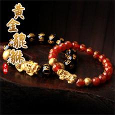黄金貔貅六字真言黑玛瑙红玛瑙手链★3D硬金工艺单圈手链