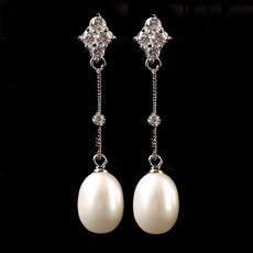 天然水晶珍珠耳坠★超闪水晶珍珠长款耳环★优雅高贵奢华