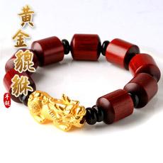 【高端精品】满金星小叶紫檀手链配转运隔珠★黄金足金貔貅佛珠手串