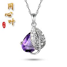 天然紫水晶同心叶吊坠★精美水晶女士挂坠