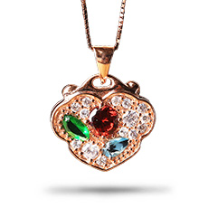 925银镀玫瑰金镶锆石★彩色心形项链★浪漫典雅时尚流行精品