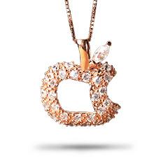 925银镀玫瑰金镶锆石★苹果项链★精巧玲珑平安果