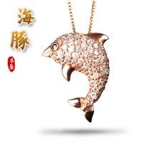 925银镀玫瑰金镶锆石★海豚项链