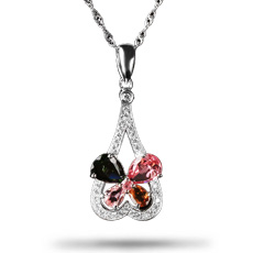 S925银镶嵌锆石+多色天然碧玺项链★精美时尚个性礼品